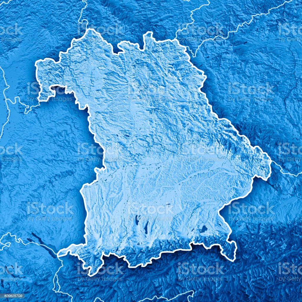 Free State Of Bavaria Germany 3d Render Topographic Map Blue Border ...