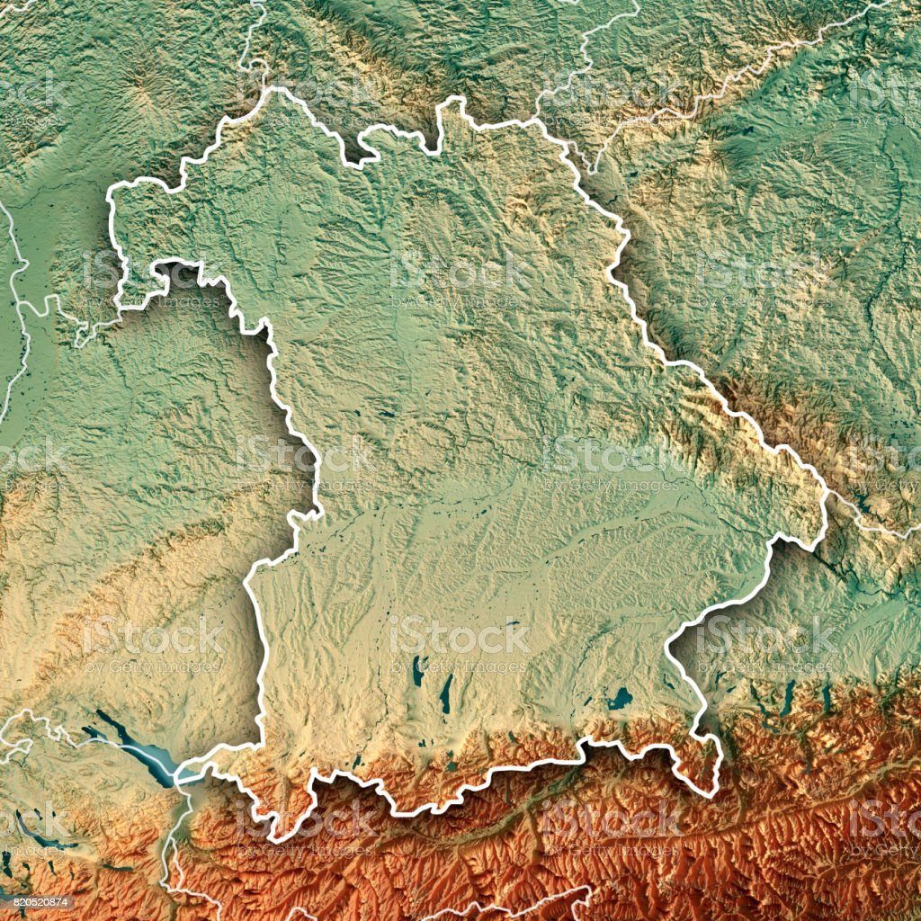 Topographische Karte Bayern.Der Freistaat Bayern Deutschland 3d Render Topographische Karte