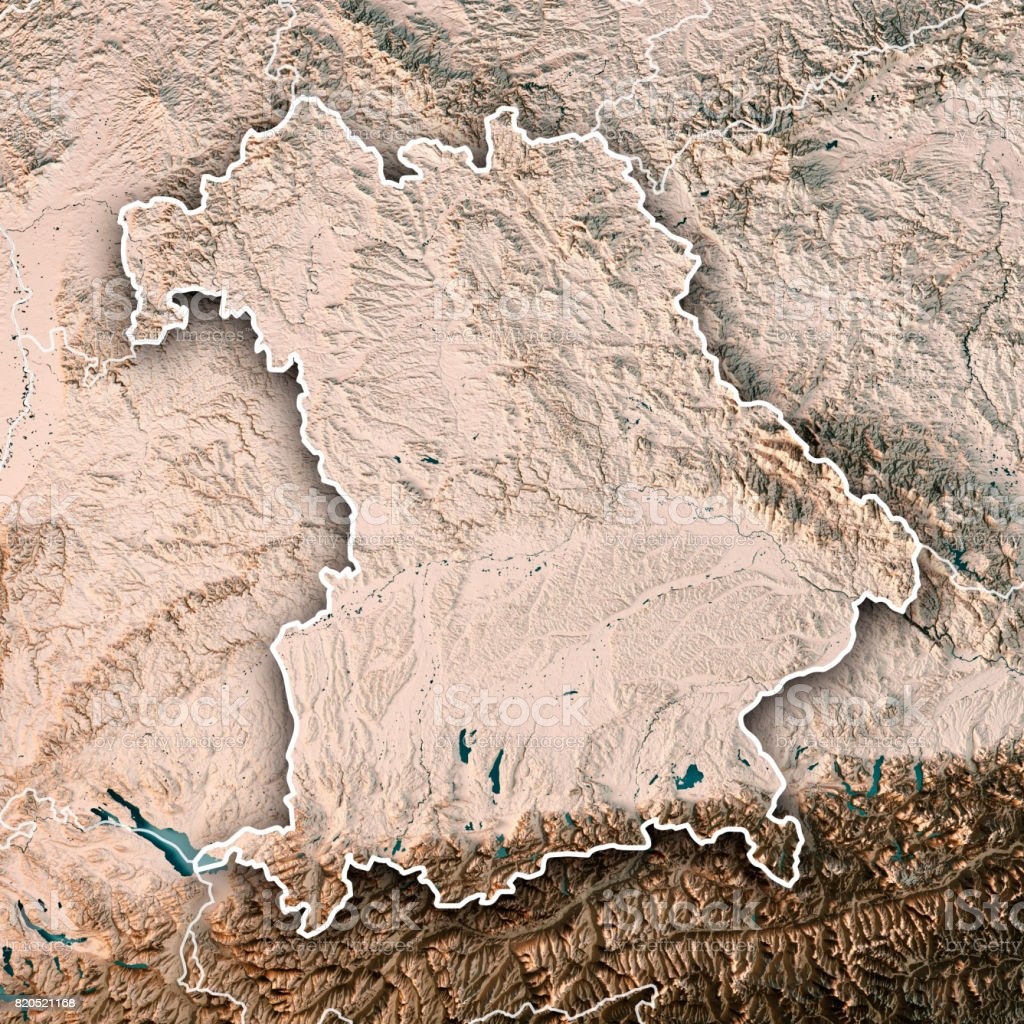 Free State Of Bavaria Germany 3d Render Topographic Map