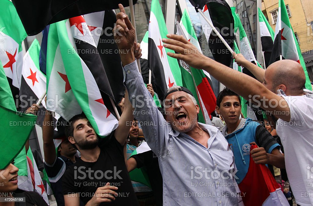 Free Syria, Syrian flags stock photo