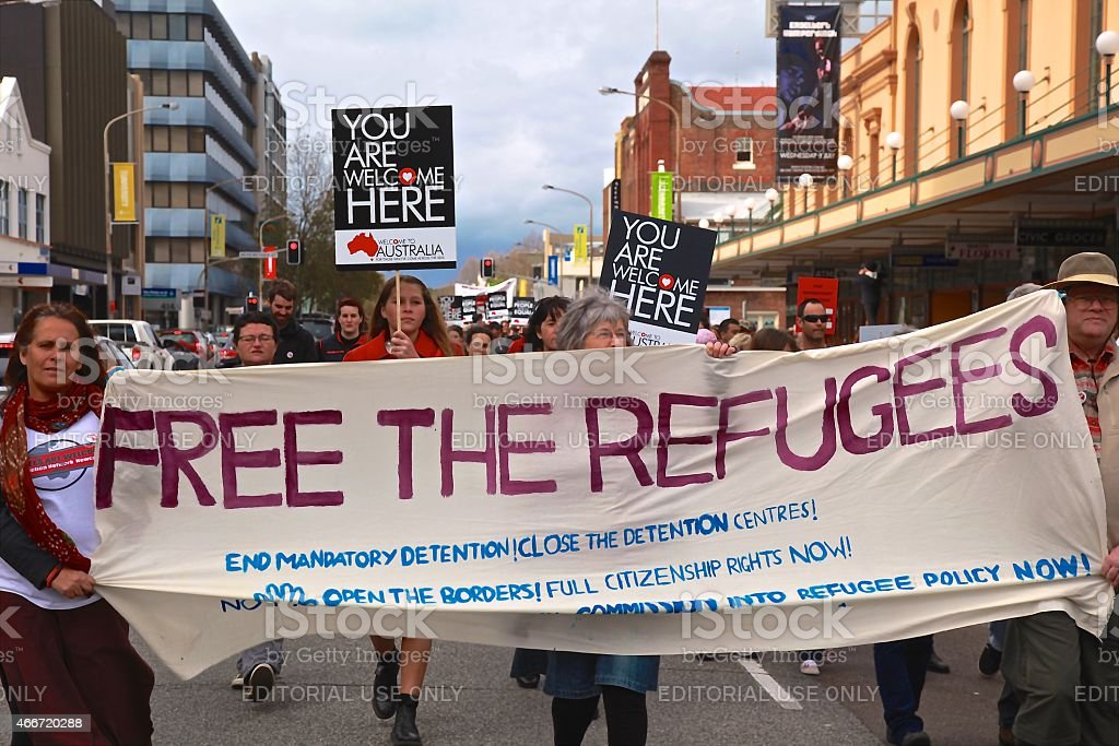 Free The Refugees stock photo
