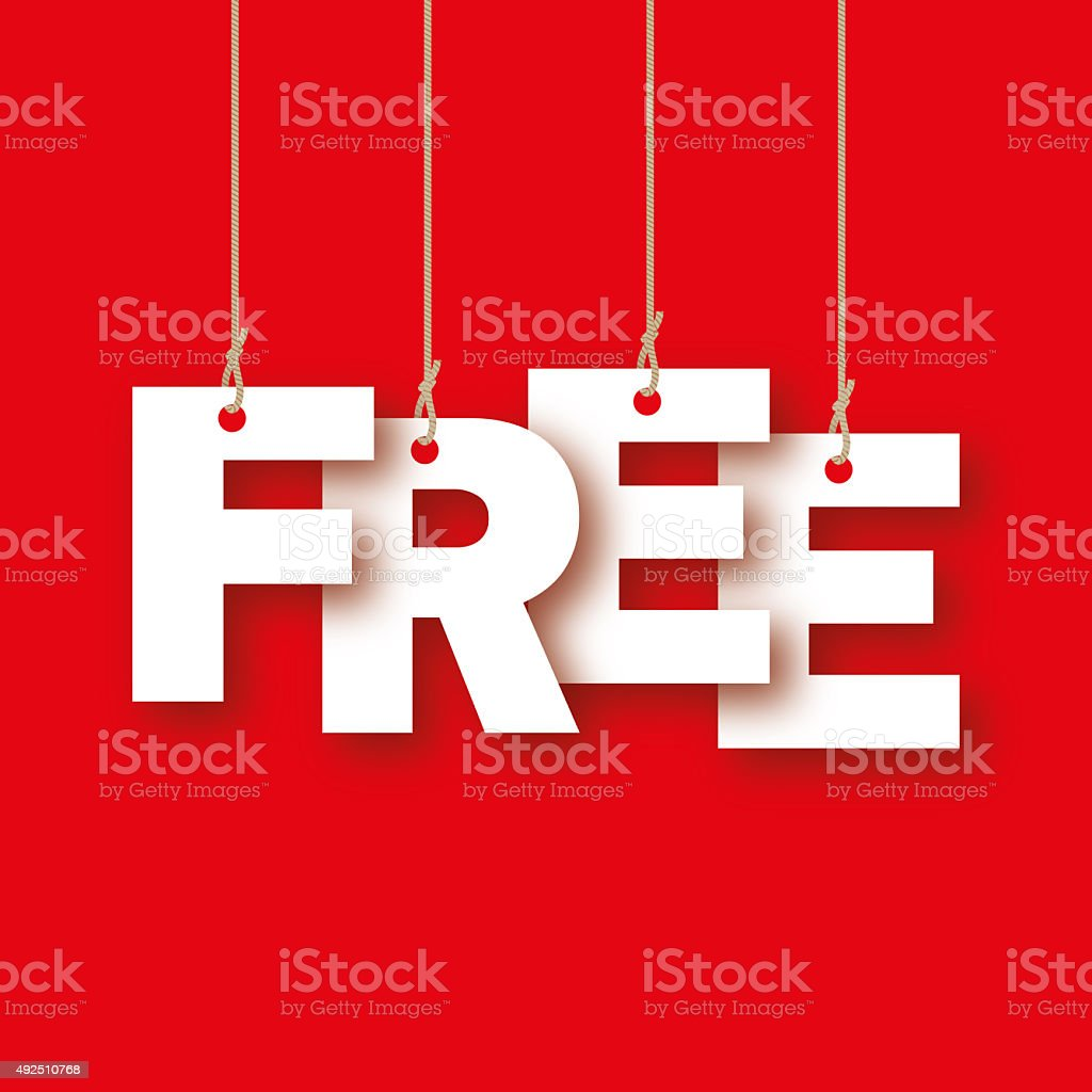 Free, the word of the letters hanging on the rope stock photo