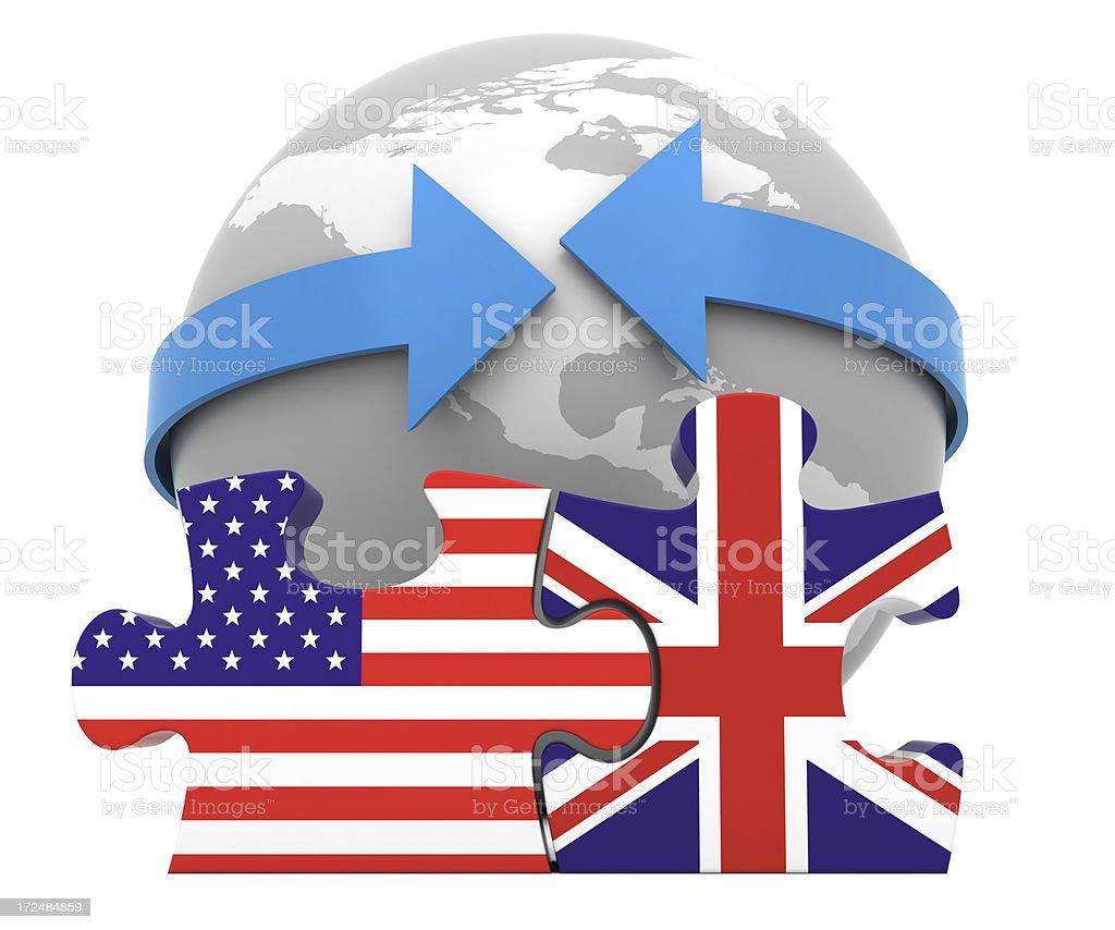 USA UK Free Trade Concept royalty-free stock photo