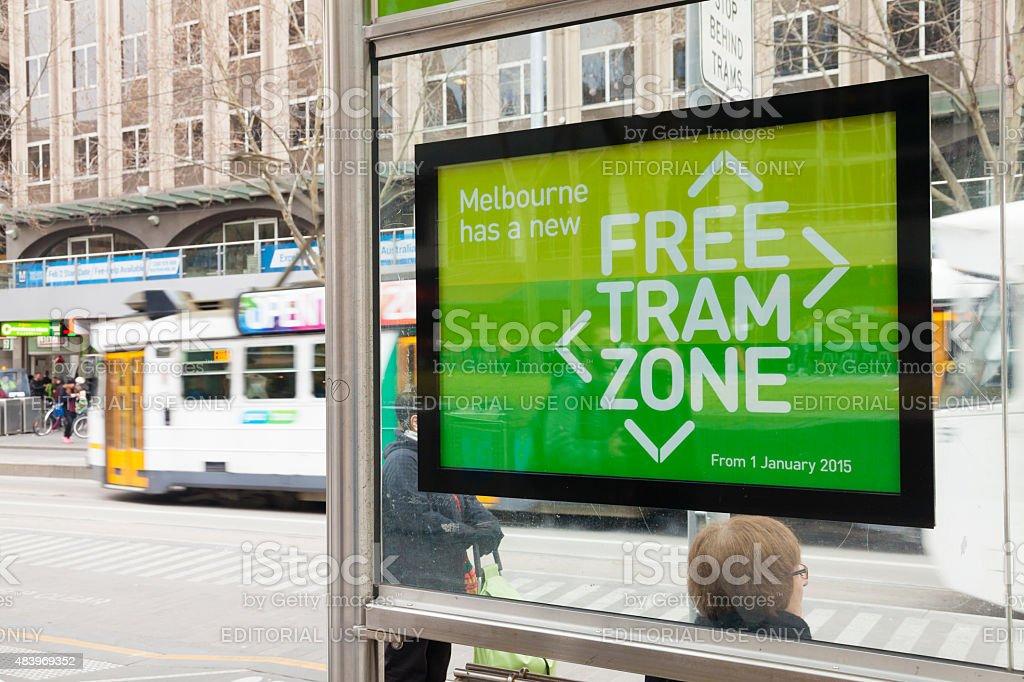 Free tram zone in Melbourne stock photo