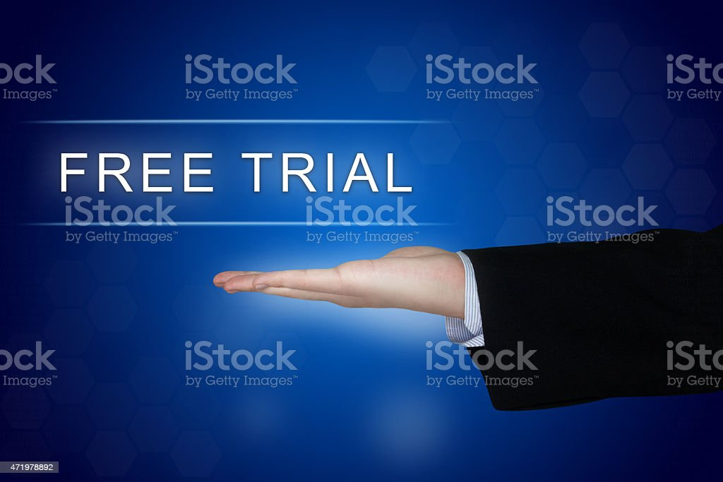 free trial button on blue background stock photo