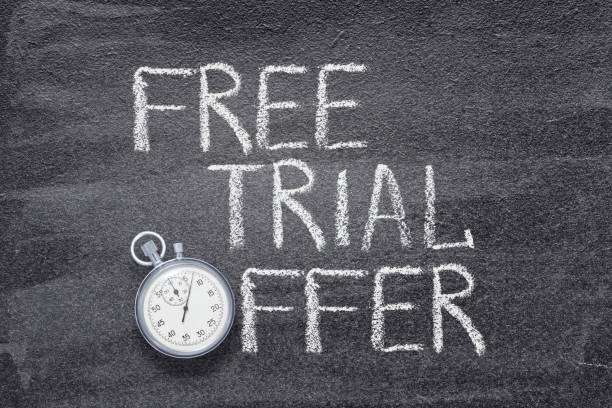 free trial offer watch free trial offer phrase written on chalkboard with vintage stopwatch used instead of O legal trial stock pictures, royalty-free photos & images