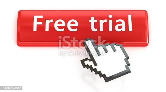 istock Free trial. Red push button with click hand cursor isolated on the white background. Web design icon sets. 1168760652