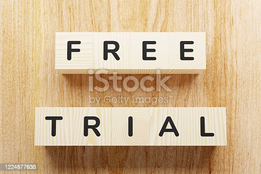Free trial - text on cubes.