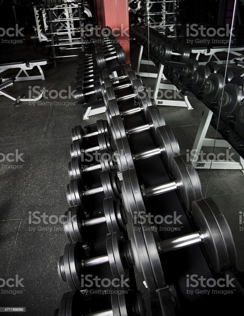Free weights at a gym royalty-free stock photo