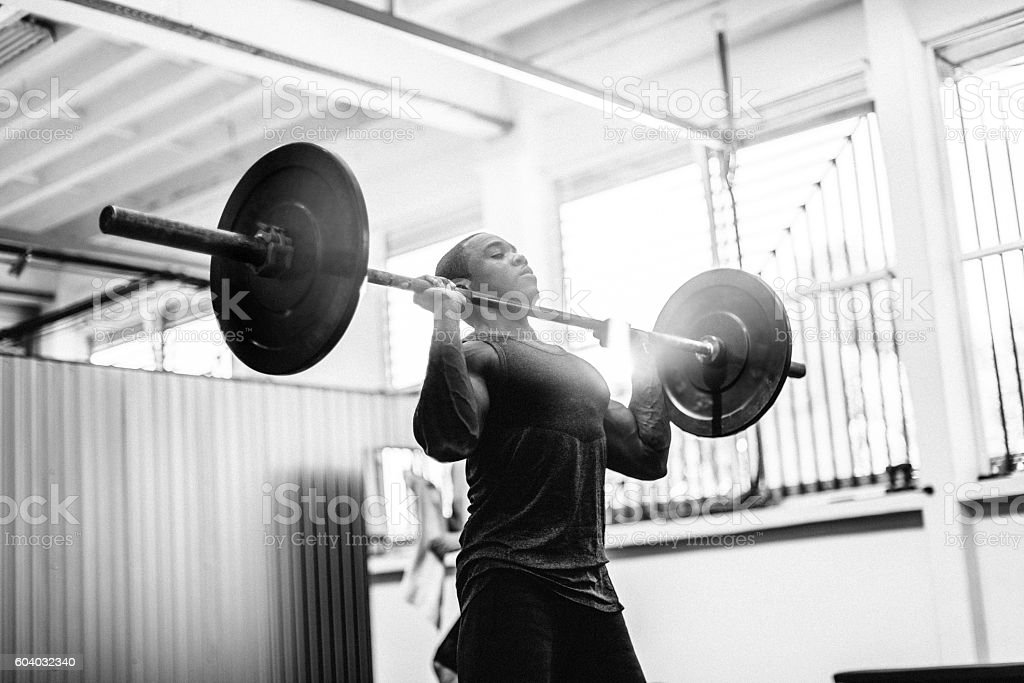 Free weights workout stock photo