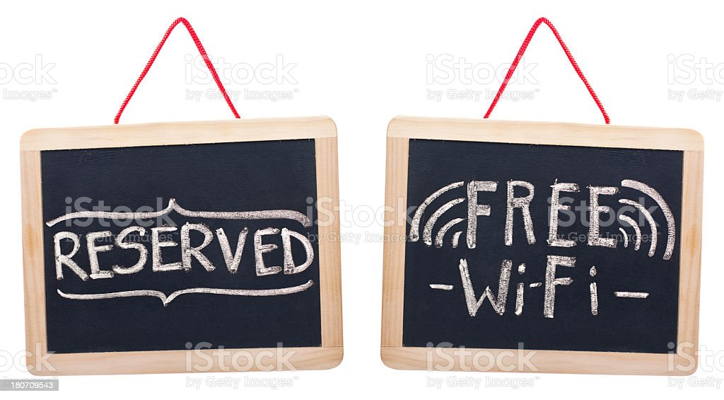 Free Wi-Fi and Reserved words on blackboard royalty-free stock photo
