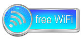 free wireless WiFi button - 3D illustration
