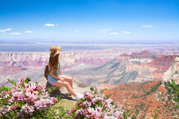 Free woman relaxing in the mountains. stock photo
