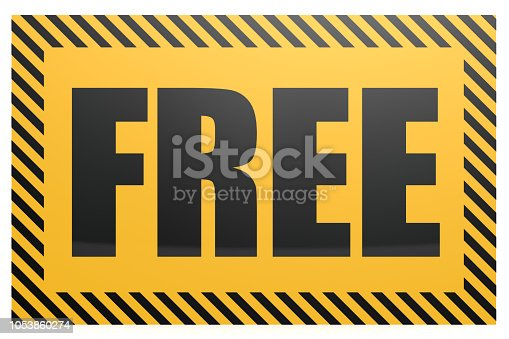 istock Free word on yellow and black banner 1053860274