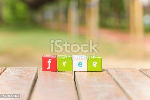 Free, word with alphabet blocks