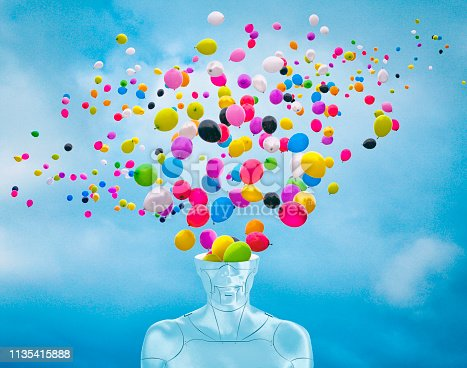 Creative photo compilation of female robot with open head and a lot of balloons flying from inside the head.  Concepts: Don't be a robot, use your emotions and sensitivity.