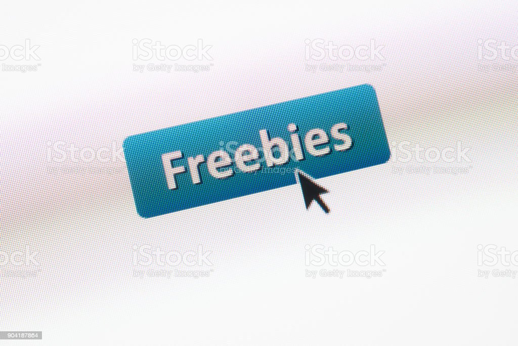 'Freebies' web button with mouse arrow on webpage stock photo