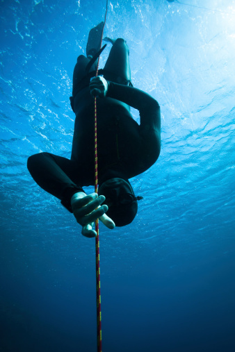 Freediver Diving In The Ocean Stock Photo - Download Image Now