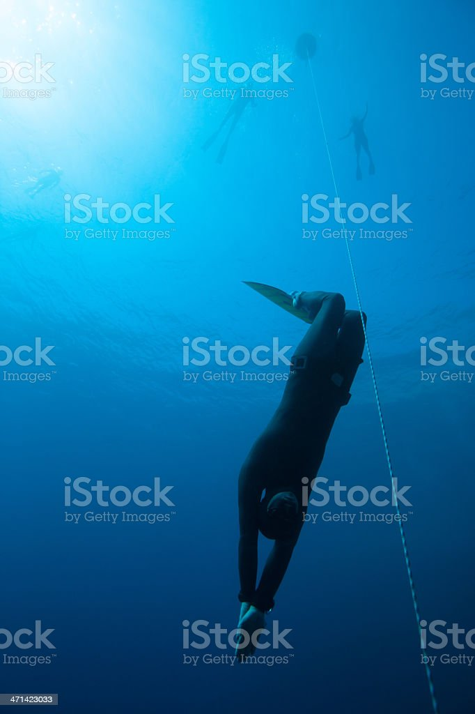 Freediver training in Blue Hole stock photo