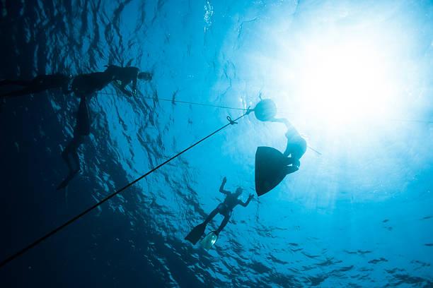 Freedivers preparing to descent stock photo