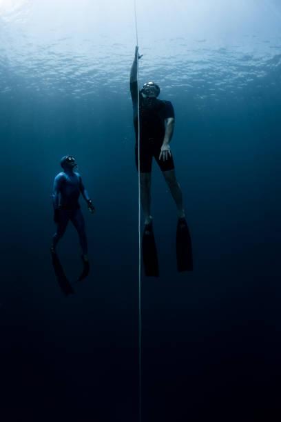 freedivers underwater - freitauchen stock-fotos und bilder