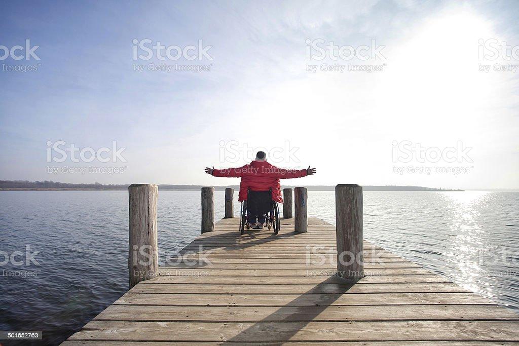 freedom at lake stock photo