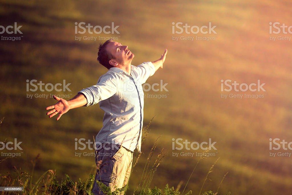 Freedom breath stock photo