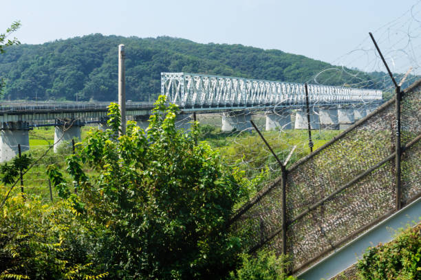 Freedom bridge connecting South and North Korea at the DMZ, Gyeonggi, Republic of Korea stock photo