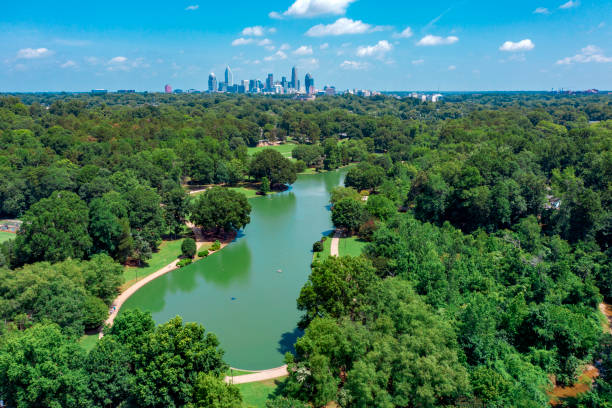 Freedom City Park in Charlotte North Carolina Aerial view stock photo