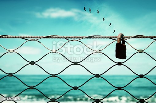 istock freedom concept. image fence and old rusty lock and birds flying in the horizon. everything is possible 941307376