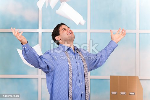 157312920 istock photo Freedom! Excited business man throws papers in air. Office. 516280449
