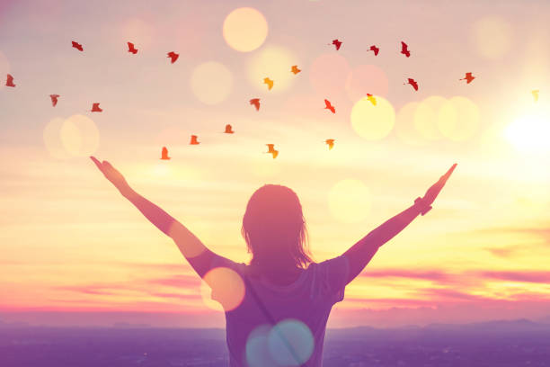 freedom feel good and travel adventure concept. copy space of silhouette woman rising hands on sunset sky at top of mountain and bird fly abstract background. - gratidão imagens e fotografias de stock