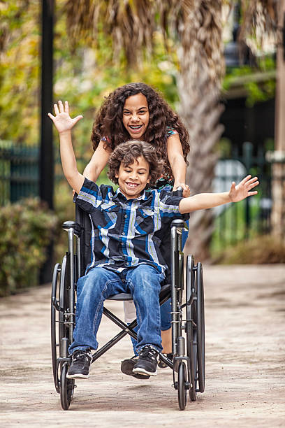 Freedom in a wheelchair stock photo