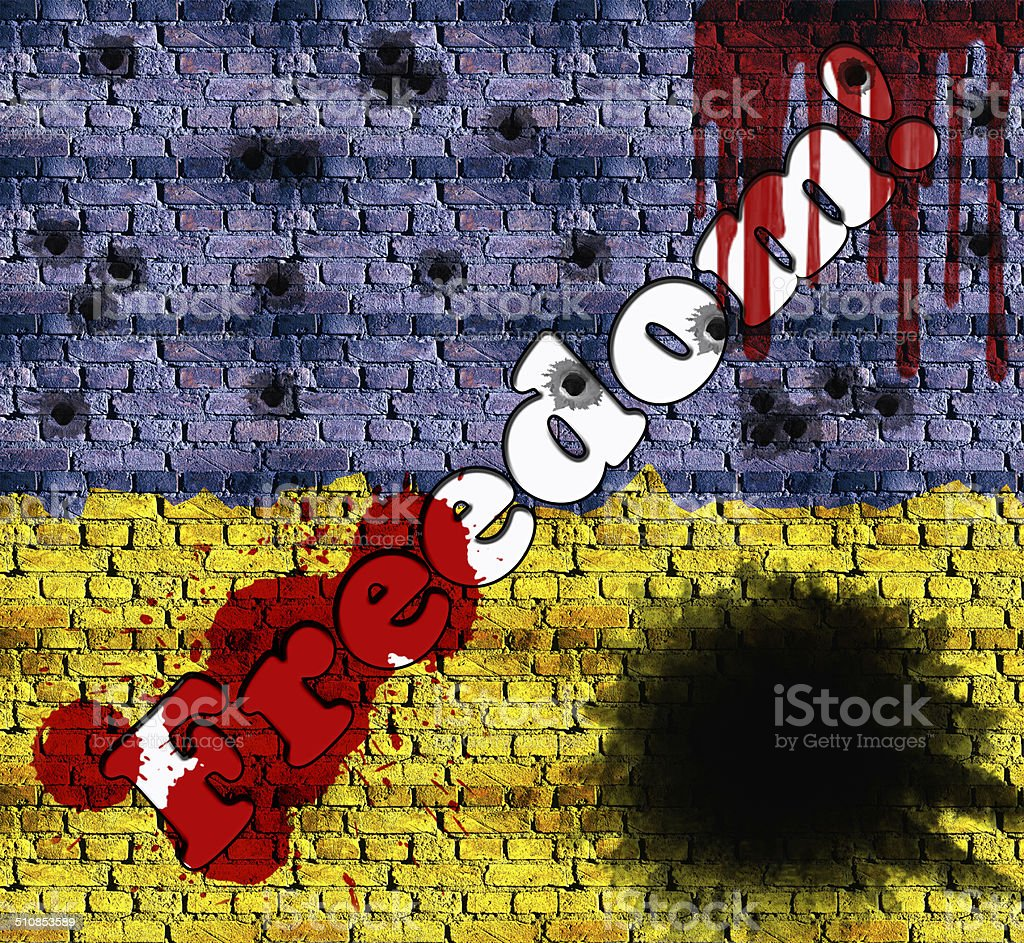 Freedom Inscription On Brick Wall In Colors Of Ukrainian Flag stock ...