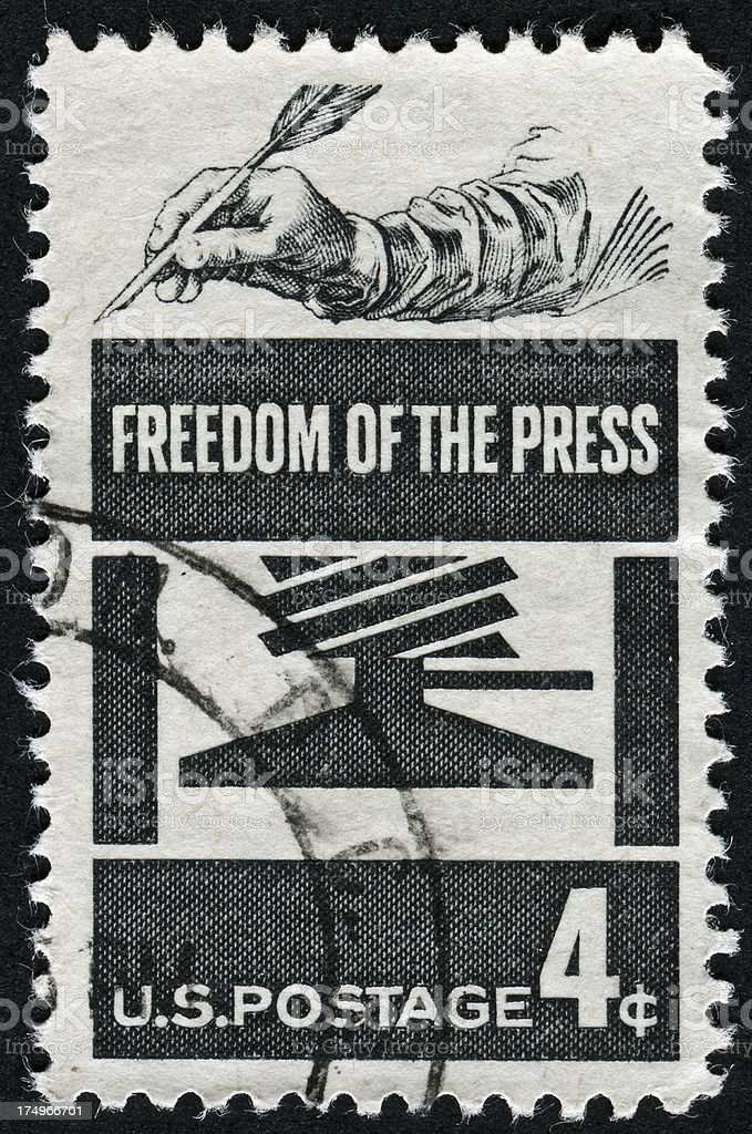 Freedom Of The Press Stamp stock photo