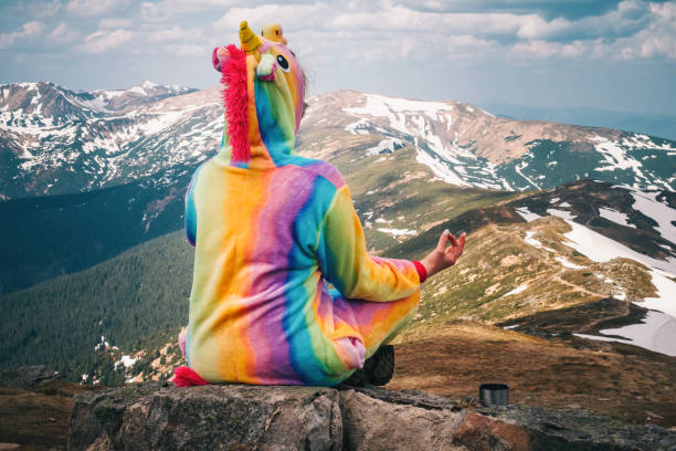 Freedom, relaxing and enjoying the nature in the mountains stock photo