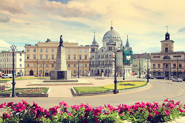 Freedom Square in Lodz, Poland stock photo