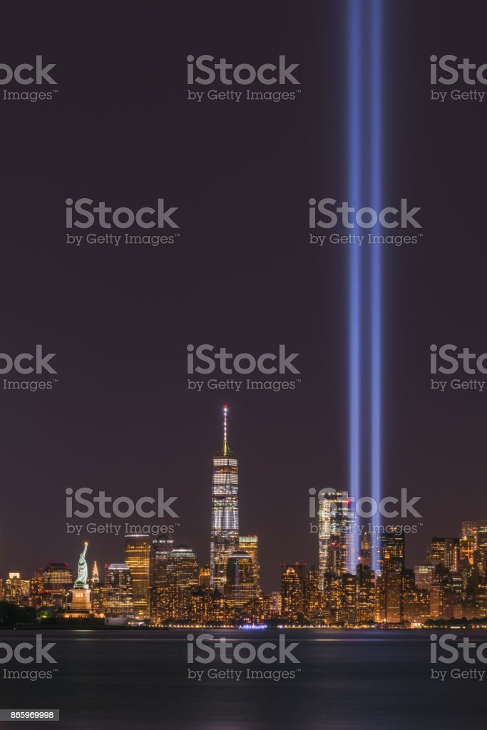 Freedom Tower and Tribute In Light Memorial stock photo