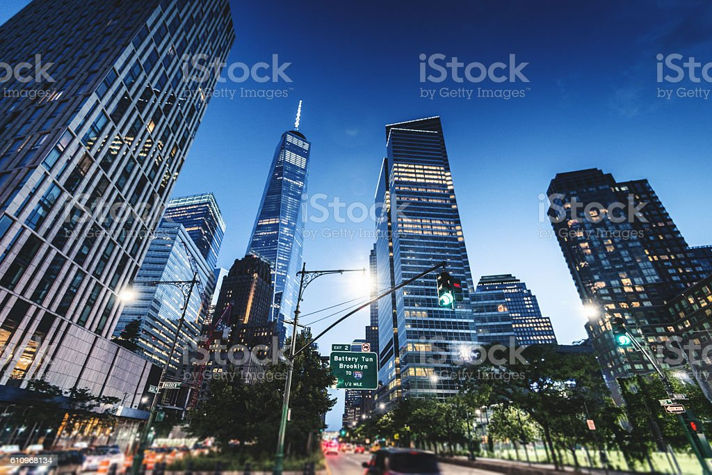 freedom tower from tribeca stock photo