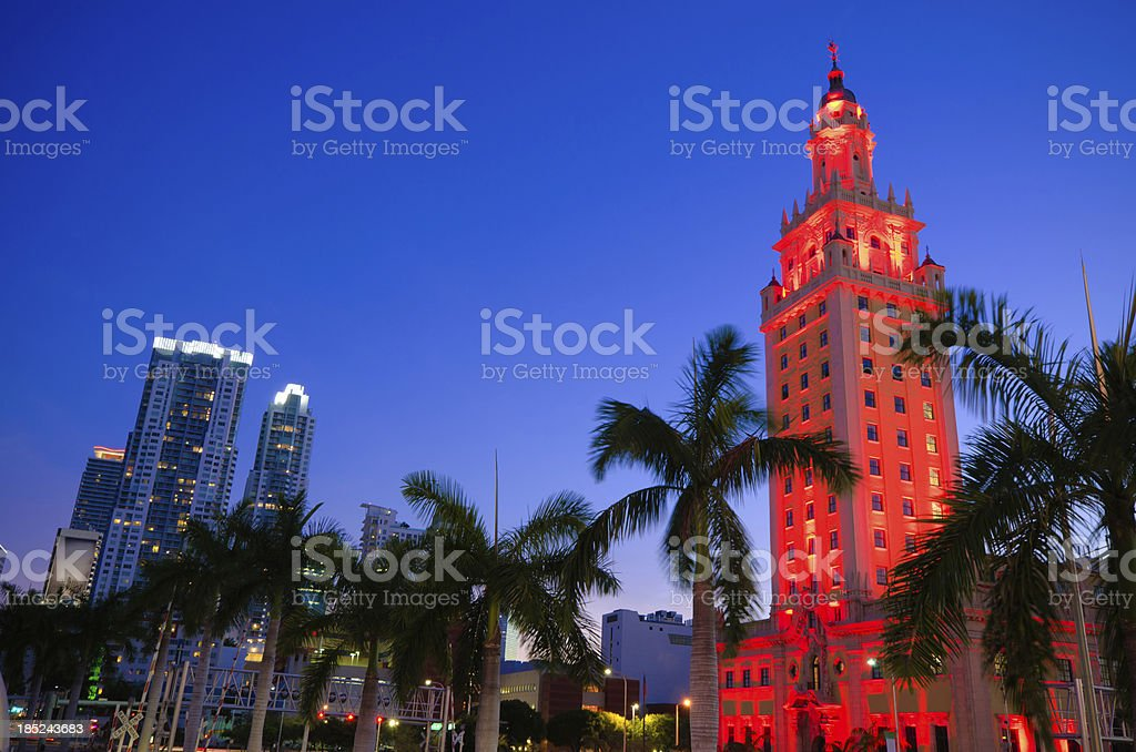 Freedom tower in Miami at night stock photo