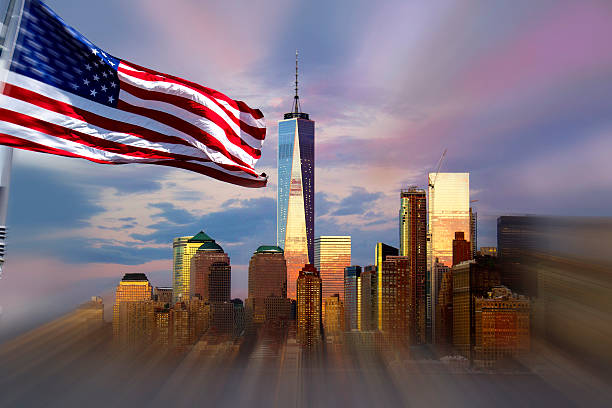 Freedom Tower, New York, American flag in foreground. stock photo