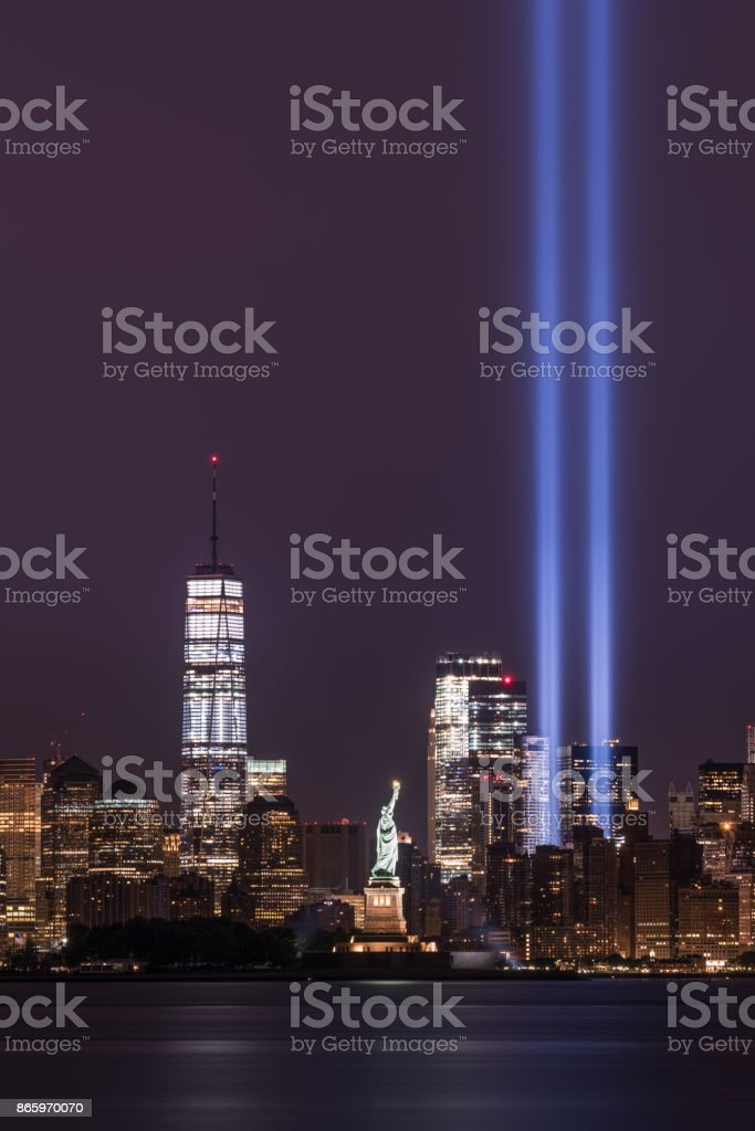Freedom Tower, Statue of Liberty and Tribute in Lights stock photo