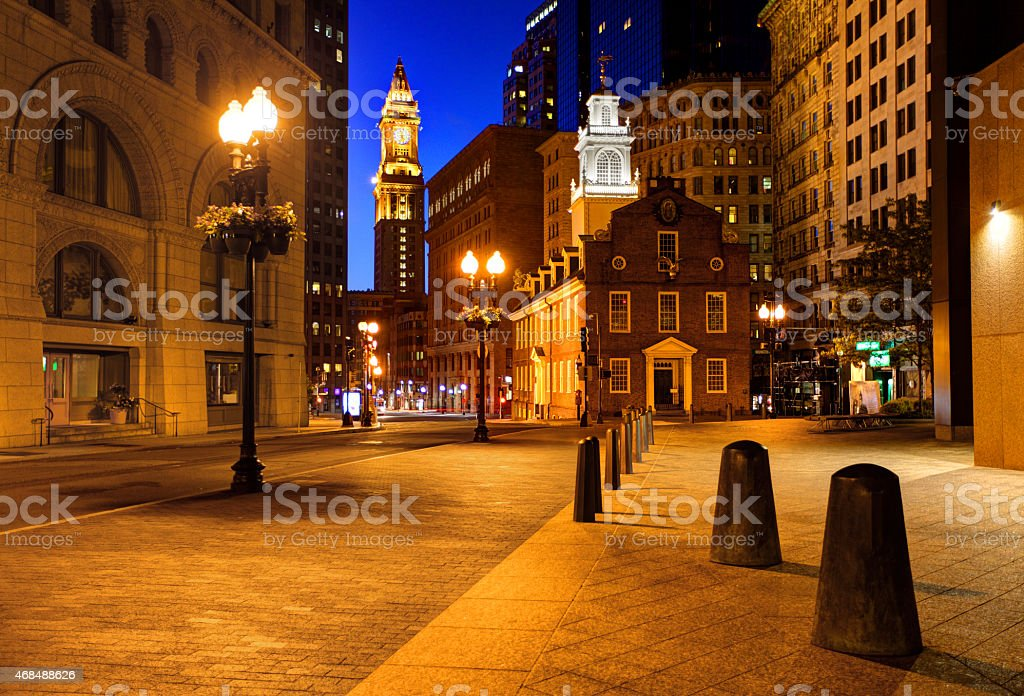 Freedom Trail and the Old State House Boston stock photo