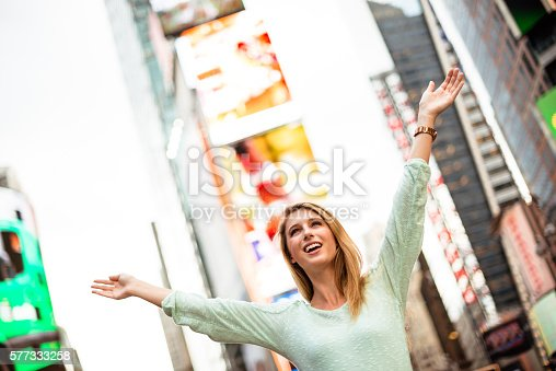 654490824 istock photo Freedom woman on times square - NYC 577333258