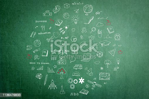 istock Freehand doodle chalk drawing in circle form on green chalkboard textured background 1136476833