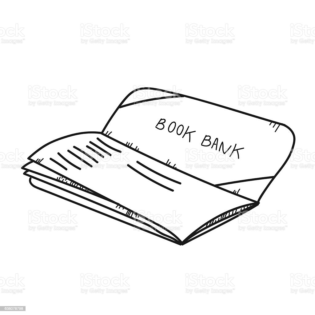 Freehand drawing illustration book bank. stock photo