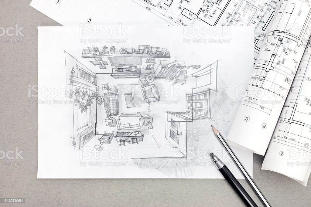 freehand sketch architectural drawing of living room with pencil stock photo