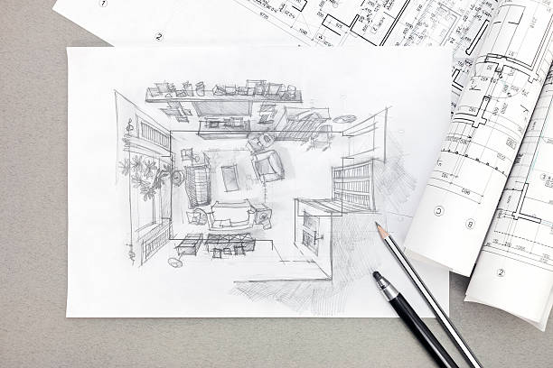 freehand sketch architectural drawing of living room with pencil - sketch stock photos and pictures
