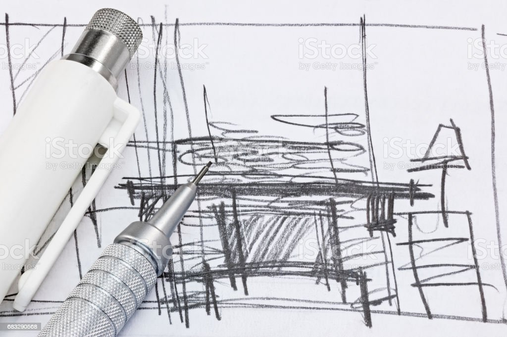Freehand Sketch Of Interior Design With Drawing Tools Macro Royalty Free  Stock Photo