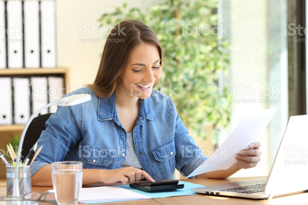 Freelance calculating a budget stock photo